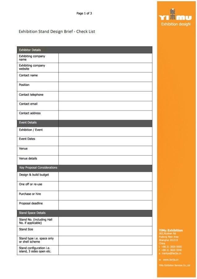 Calendar Design Brief : Design brief form from yimu exhibition services markye