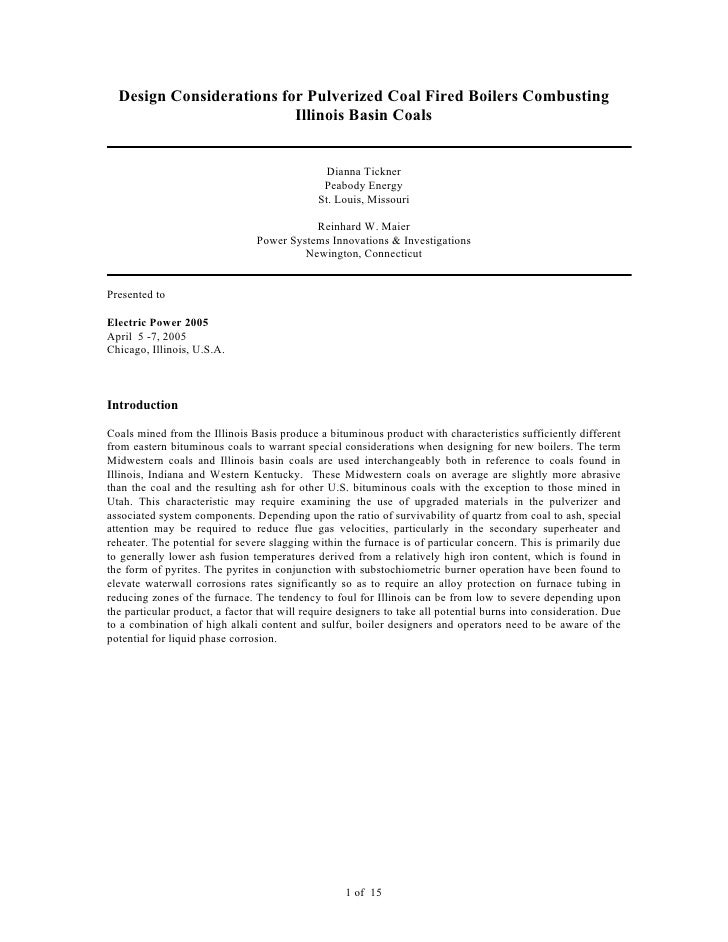 Design Considerations for Pulverized Coal Fired Boilers Combusting                          Illinois Basin Coals          ...