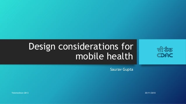 Design considerations for mHealth apps