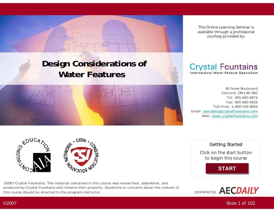 Design Considerations of Water Features