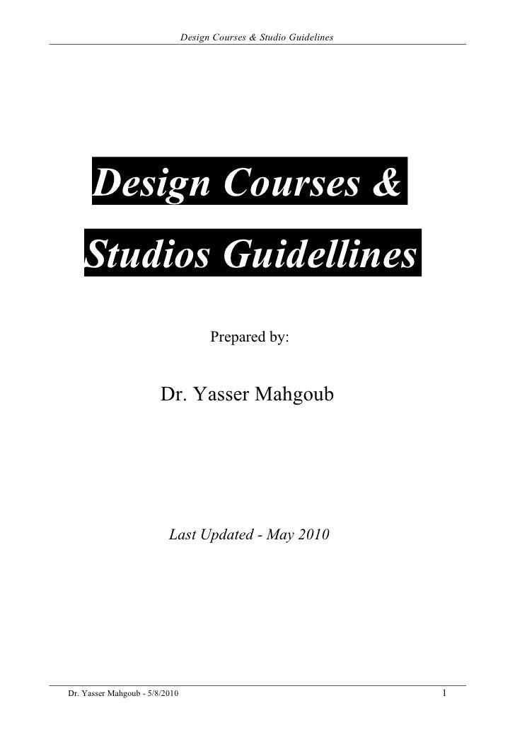 Design Courses & Studio Guidelines           Design Courses &     Studios Guidellines                                     ...