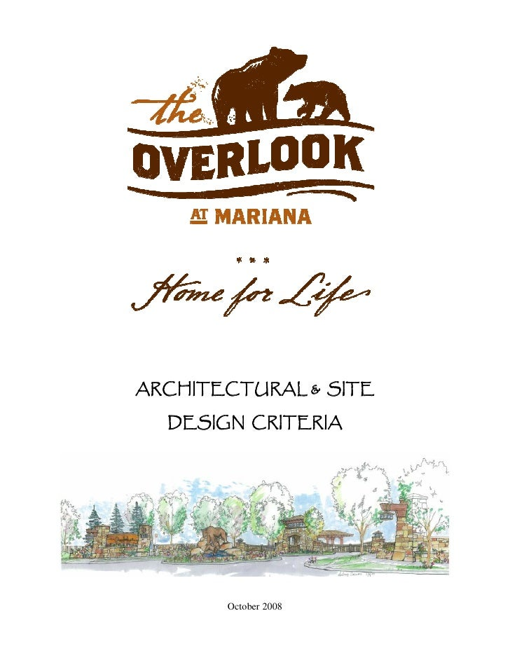 ARCHITECTURAL & SITE    DESIGN CRITERIA            October 2008