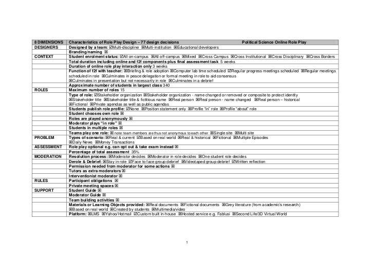 8 DIMENSIONS   Characteristics of Role Play Design – 77 design decisions                                     Political Sci...