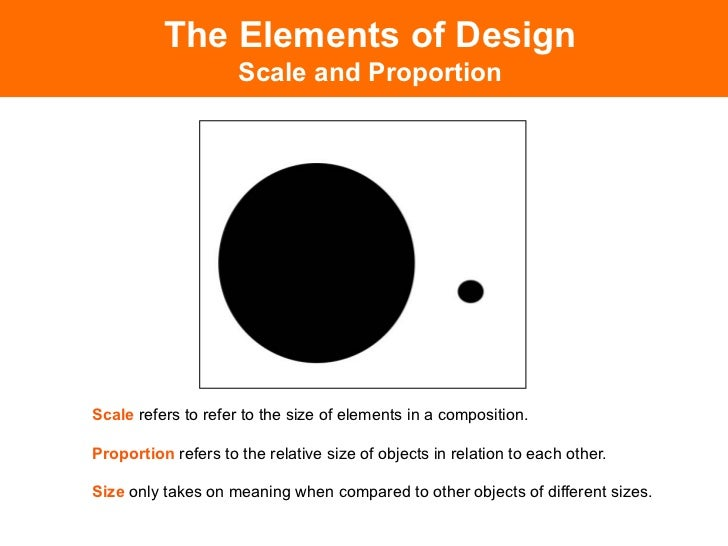 Elements of design for Size and proportion