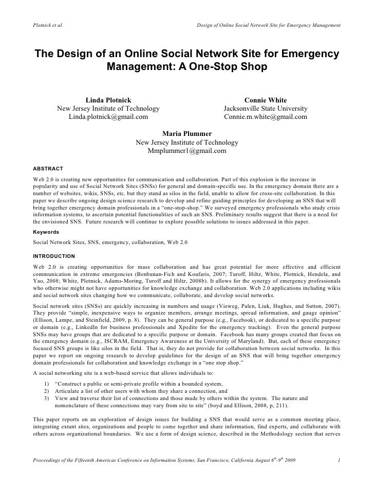 The Design of an Online Social Network Site for Emergency Management: A One-Stop Shop