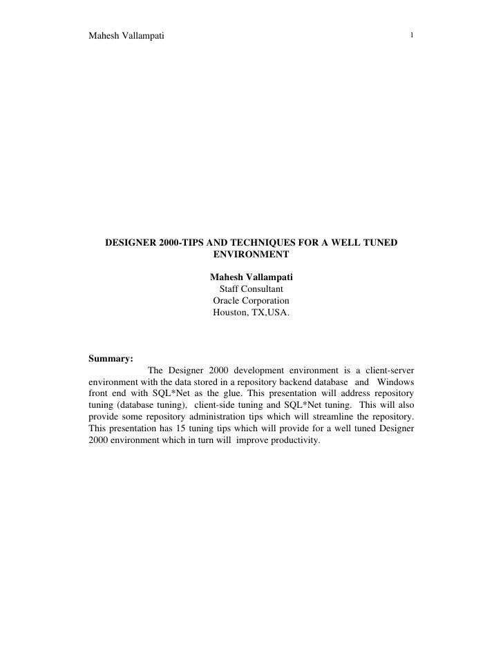 Mahesh Vallampati                                                              1         DESIGNER 2000-TIPS AND TECHNIQUES...