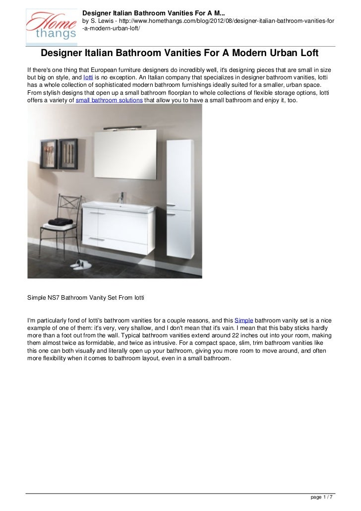 Designer Italian Bathroom Vanities For A M...                     by S. Lewis - http://www.homethangs.com/blog/2012/08/des...