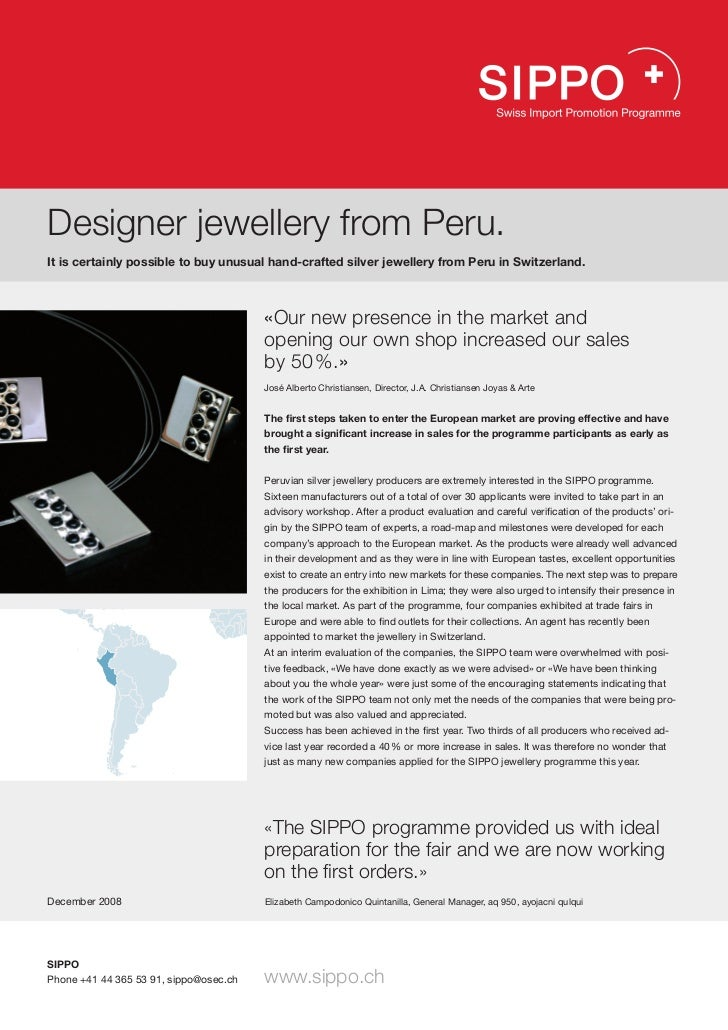 Designer jewellery from Peru.It is certainly possible to buy unusual hand-crafted silver jewellery from Peru in Switzerlan...