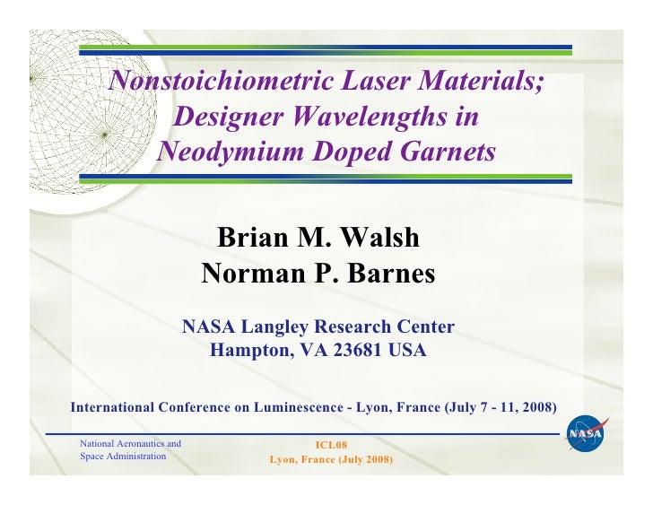 Nonstoichiometric Laser Materials;
