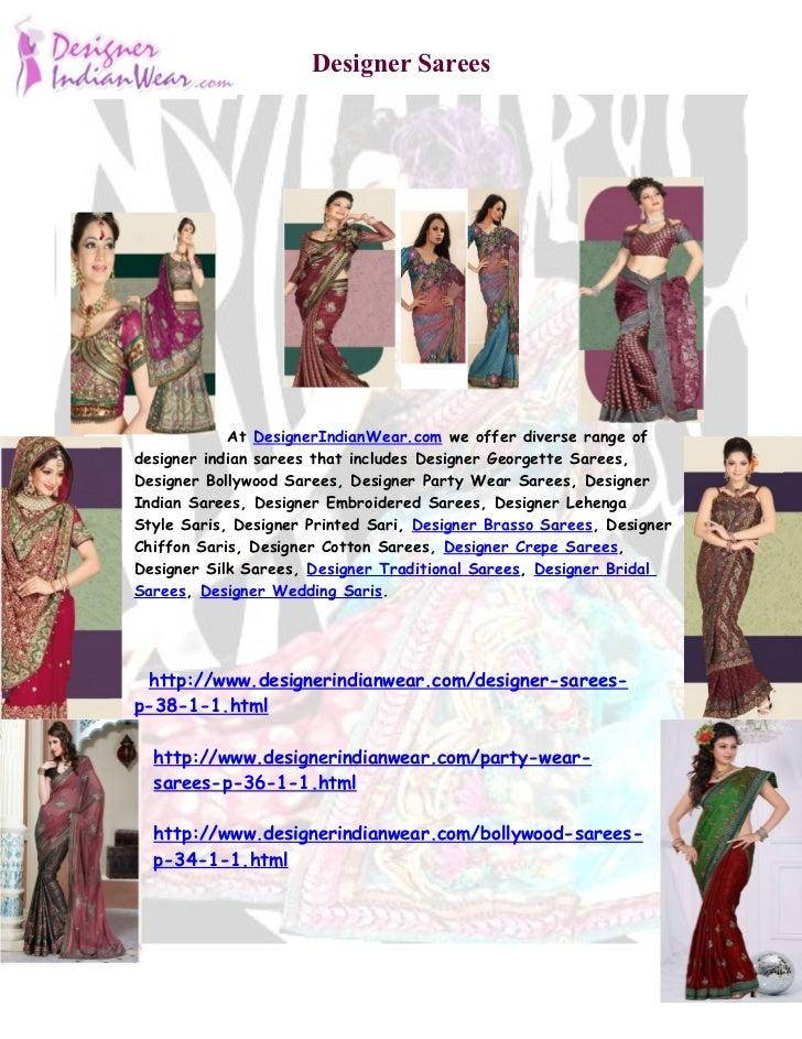 Designer Sarees            At DesignerIndianWear.com we offer diverse range ofdesigner indian sarees that includes Designe...