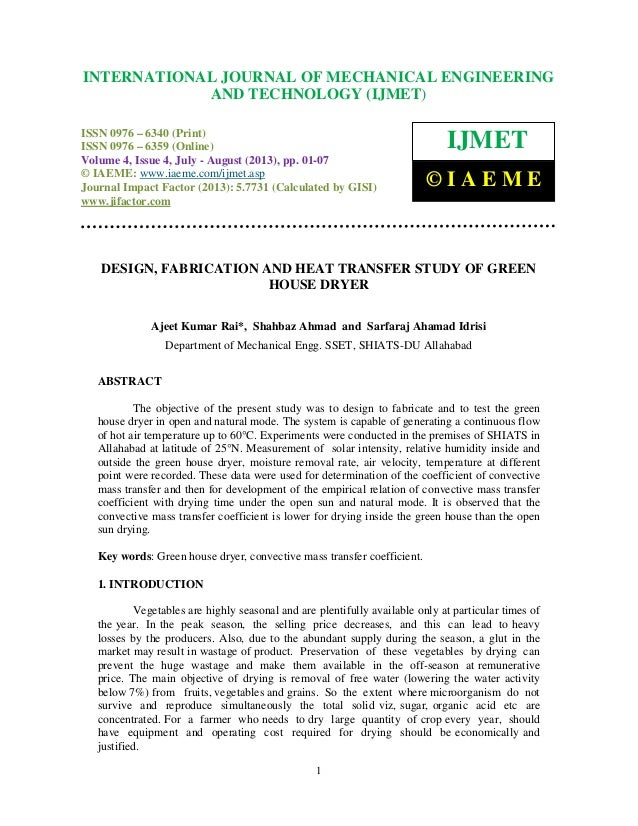 Design, fabrication and heat transfer study of green house dryer 2