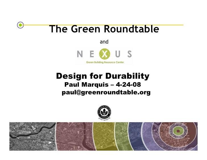 Design For Durability
