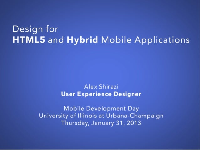Design for HTML5 and Hybrid Mobile Applications