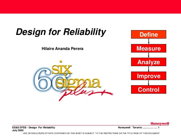 Design for Reliability Hilaire Ananda Perera  Define Measure Analyze Improve Control  ES&S DFSS - Design For Reliability J...