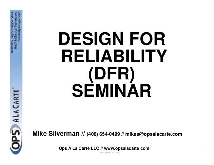 Design for Reliability (DfR) Seminar