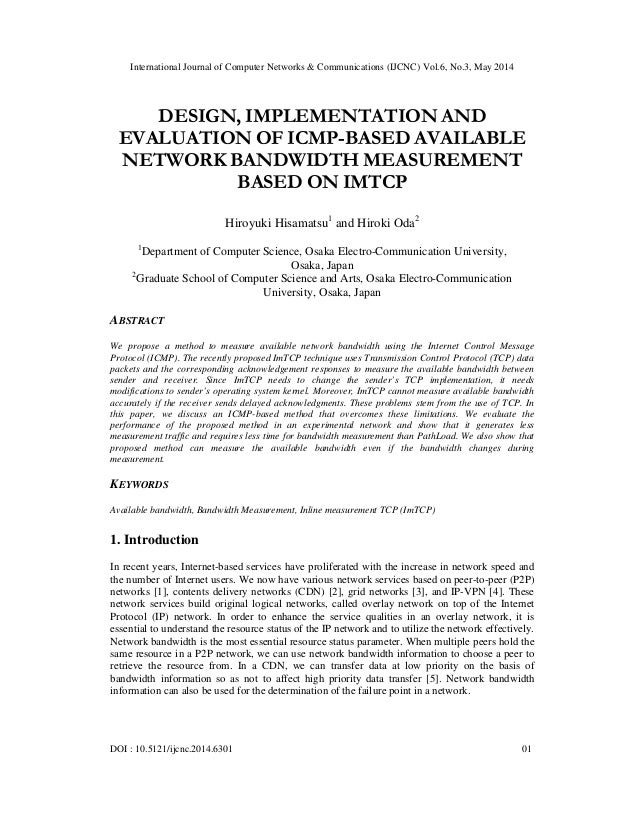 Design, implementation and evaluation of icmp based available network bandwidth measurement based on imtcp