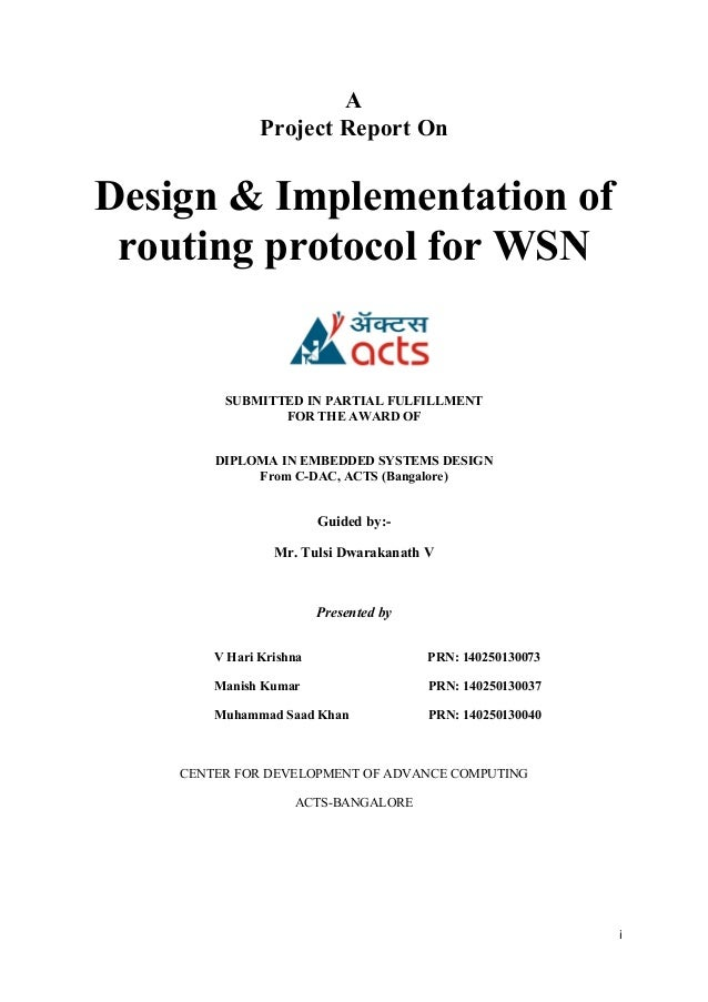 Design & Implementation of Routing Protocol for WSN