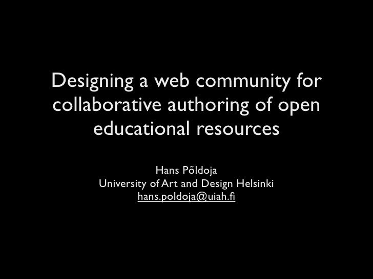 Designing a web community for collaborative authoring of open educational resources