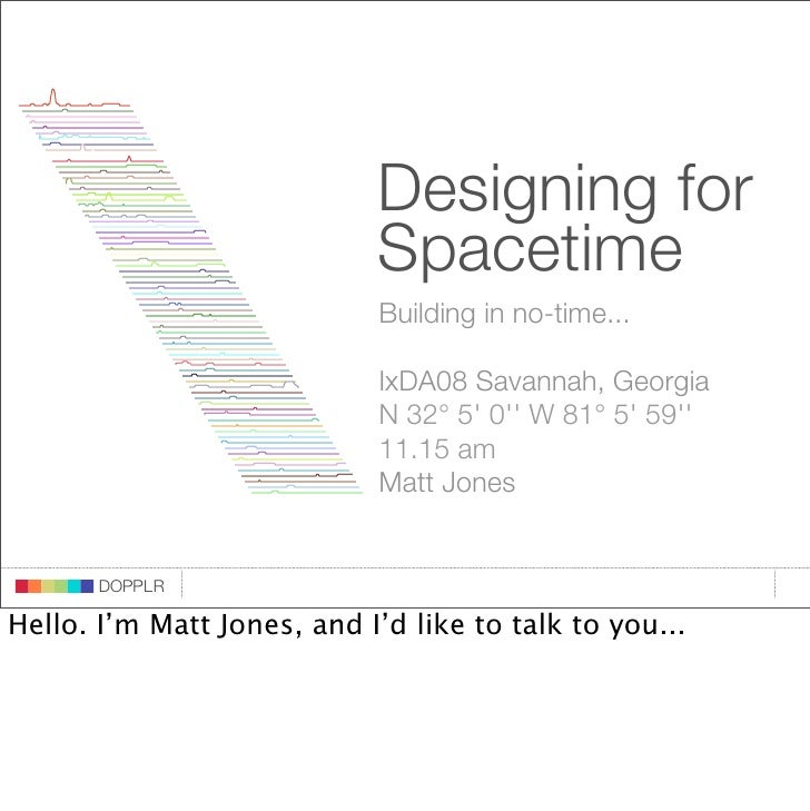 Designing for                              Spacetime                              Building in no-time...                  ...