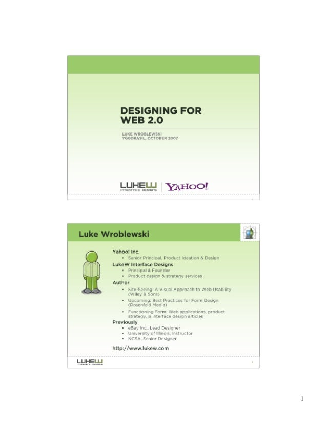DESIGNING FOR WEB 2.0  LIKE Wl! OH. EWSKt VOODRAQI-.  OCTOIIII 3007  Yahoo!  he.   - sonloc Principal.  Product location A...