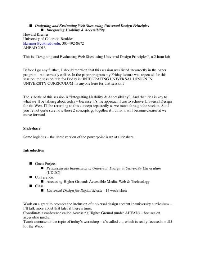 Designing and Evaluating Web Sites using Universal Design Principles  Integrating Usability & Accessibility Howard Kram...