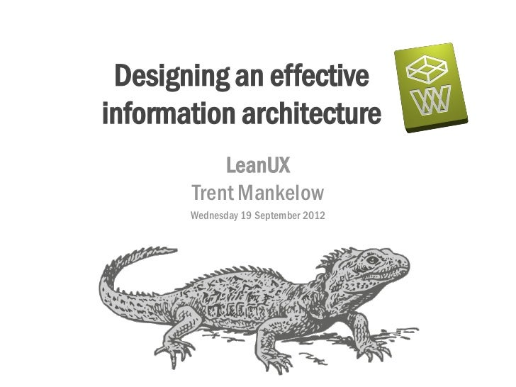 Designing an effectiveinformation architecture           LeanUX       Trent Mankelow       Wednesday 19 September 2012