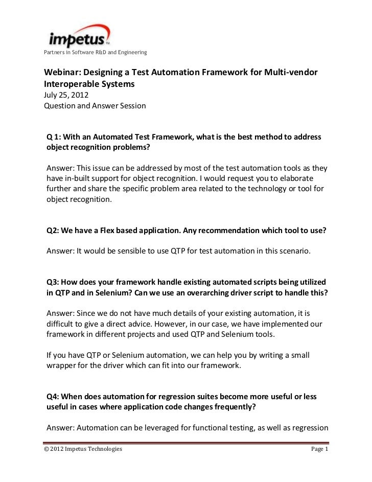 Partners in Software R&D and EngineeringWebinar: Designing a Test Automation Framework for Multi-vendorInteroperable Syste...