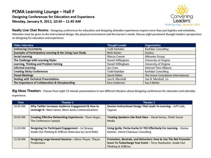 Designing for Education and Experience Schedule at a Glance