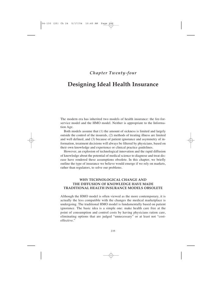 Designing Ideal Health Insurance
