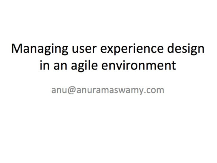 Collaborative user experience design       in agile development Anu Ramaswamy (anu@empaticasystems.com)         Empatica S...