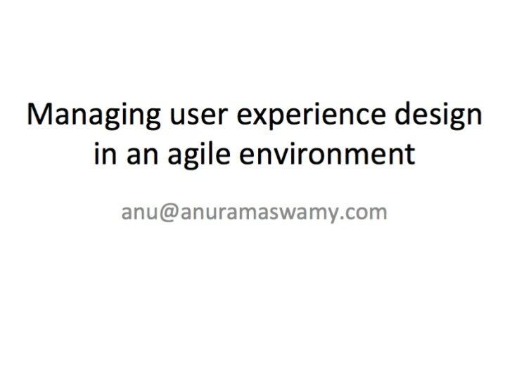 Designing in an agile development