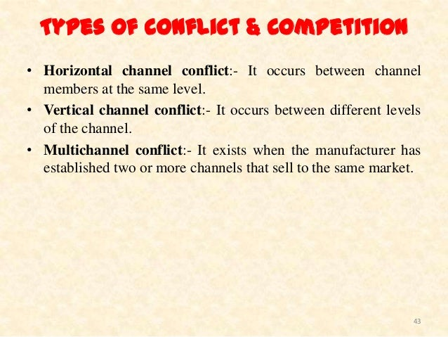 what are some types and sources of channel conflict It may seem counter intuitive to discuss channel conflict in a soft economy when most of our clients think about conflict management, they assume they will need controls on the channel and/or a reduction in channel partners as the solution.