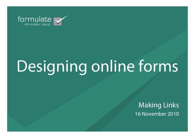 Designing online forms (Jessica Kerr, Formulate)