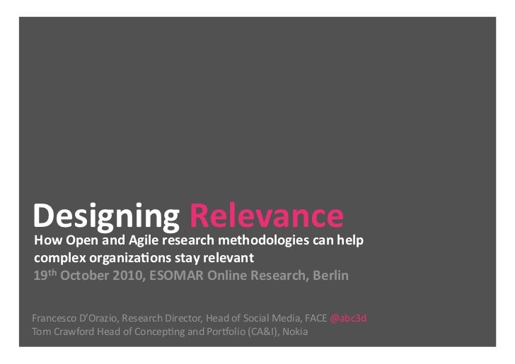Designing Relevance,  Nokia and Face Open Innovation project @ Esomar Berlin