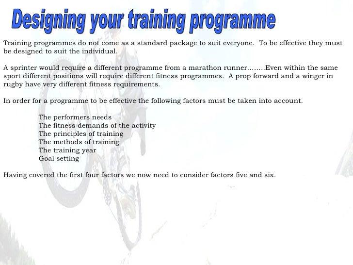 Designing your training programme
