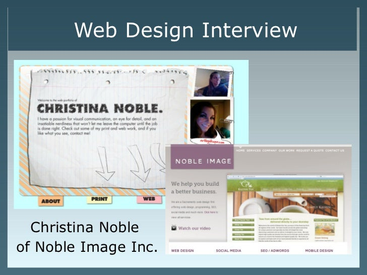 Web Design Interview  Christina Nobleof Noble Image Inc.