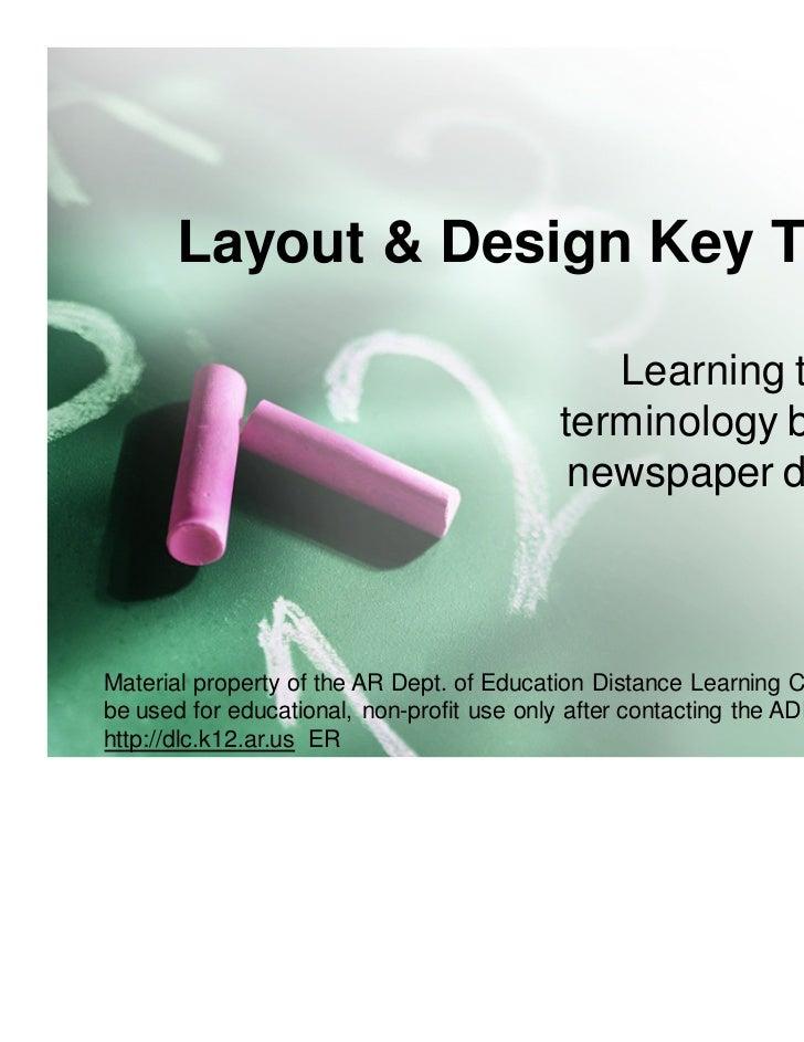 Newspaper Design key terms