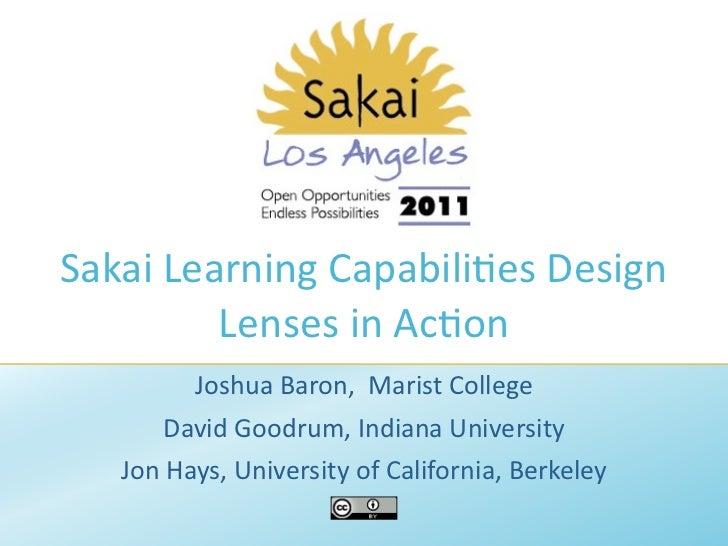 Sakai Learning Capabilities Design Lenses in Action
