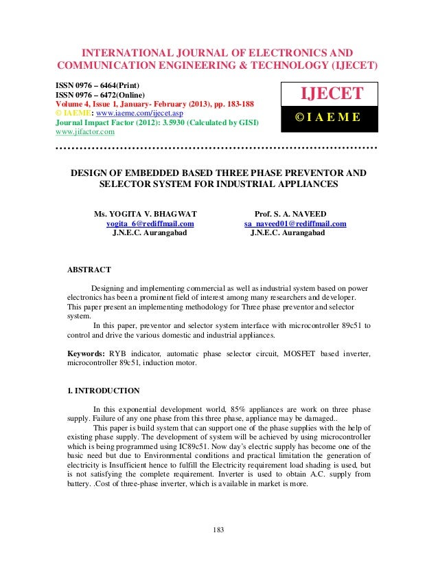 Design of embedded based three phase preventor and selector system for industrial appliances