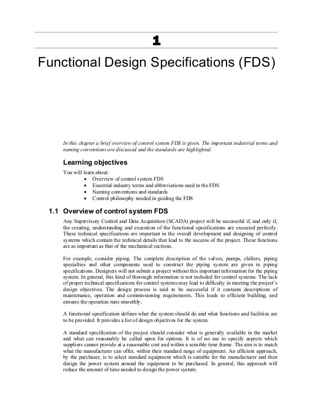 Design of industrial automation functional specifications for Functional design document template