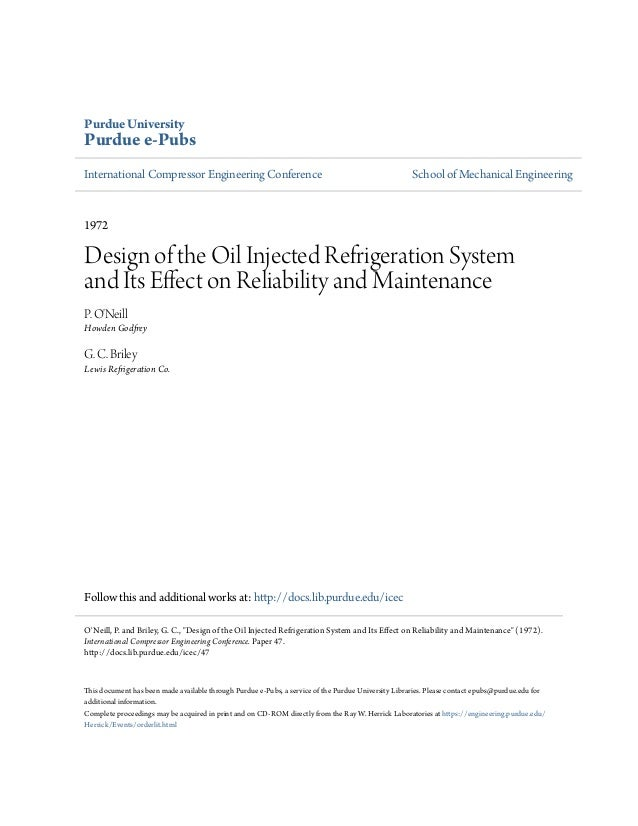 Design of the oil injected refrigeration system