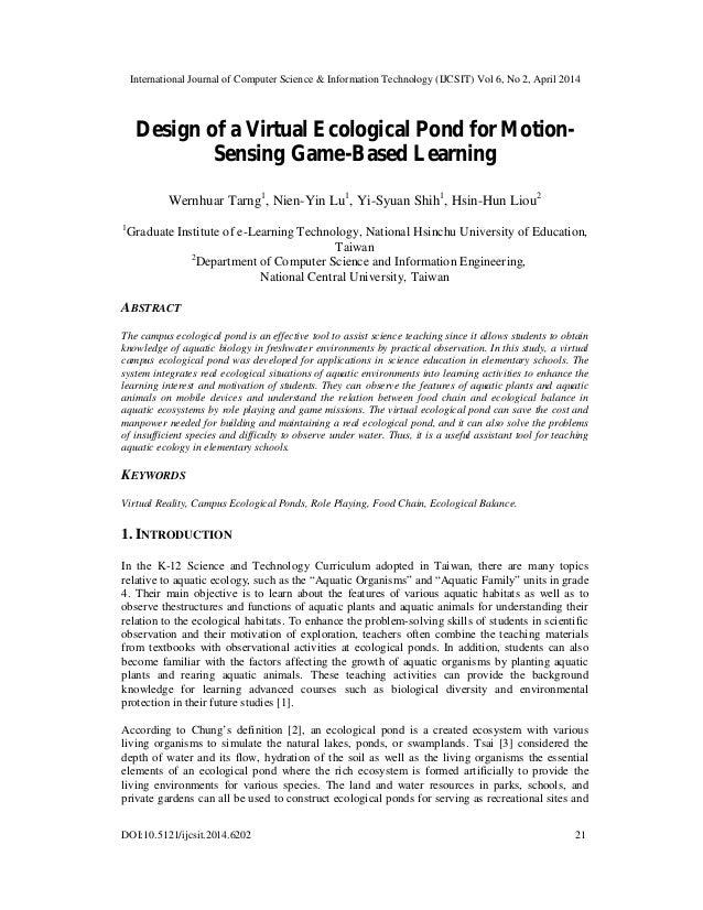 Design of virtual rcological pond for motion sensing game-based learning