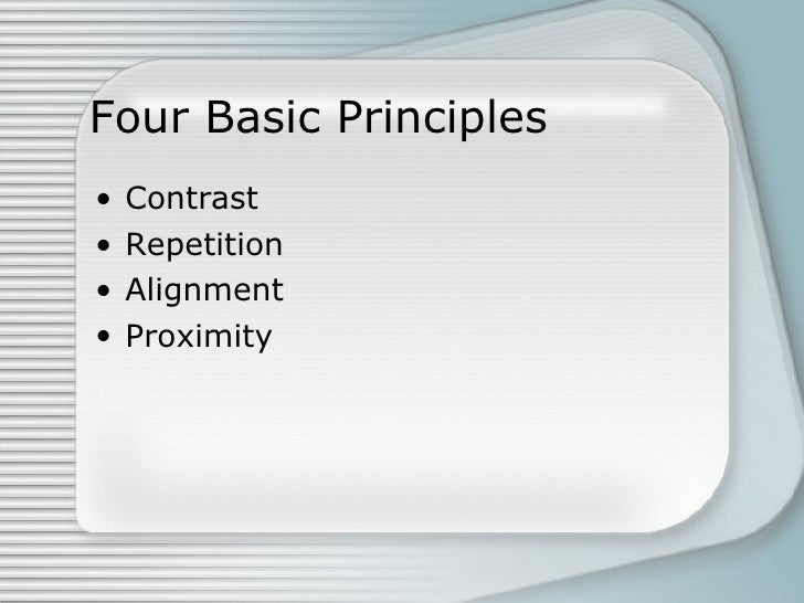 carp principles of design Crap stands for contrast, repeitition, alignment and proximity and these are the  four principles of design that a blog design should adhere to as a matter of.