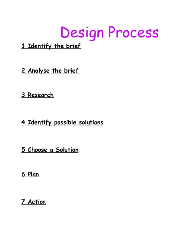 Design Process 1 Identify the brief 2 Analyse the brief 3 Research 4 Identify possible solutions 5 Choose a Solution 6 Pla...