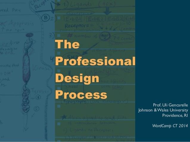 The Professional Design Process Prof. Uli Gencarelle Johnson & Wales University Providence, RI WordCamp CT 2014 1