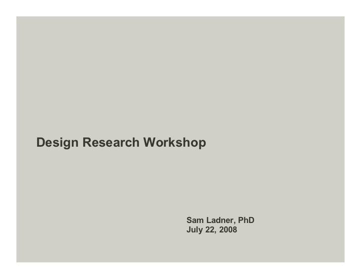 Design Research Workshop 01
