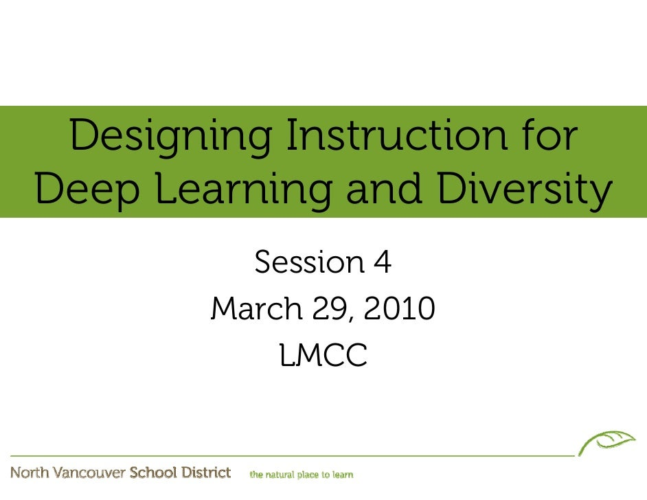 Designing Instruction for Deep Learning and Diversity           Session 4         March 29, 2010             LMCC