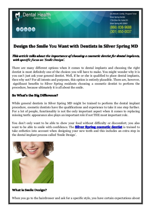 Design the Smile You Want with Dentists in Silver Spring MD