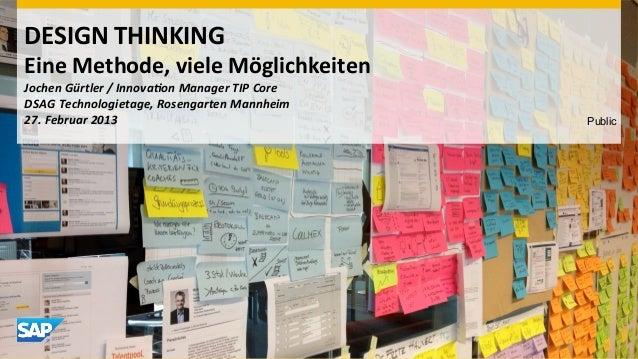 DESIGN THINKING Eine Methode, viele Möglichkeiten  Jochen Gürtler / Innova1on Manager TIP Core ...