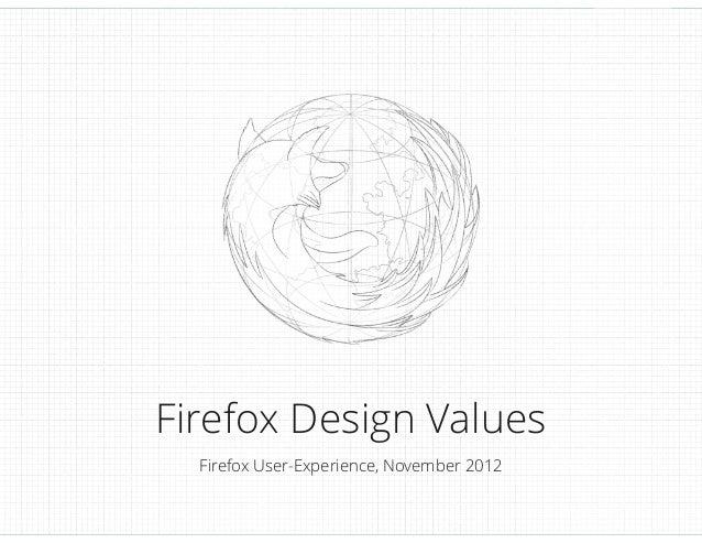 Firefox Design Values Firefox User-Experience, November 2012